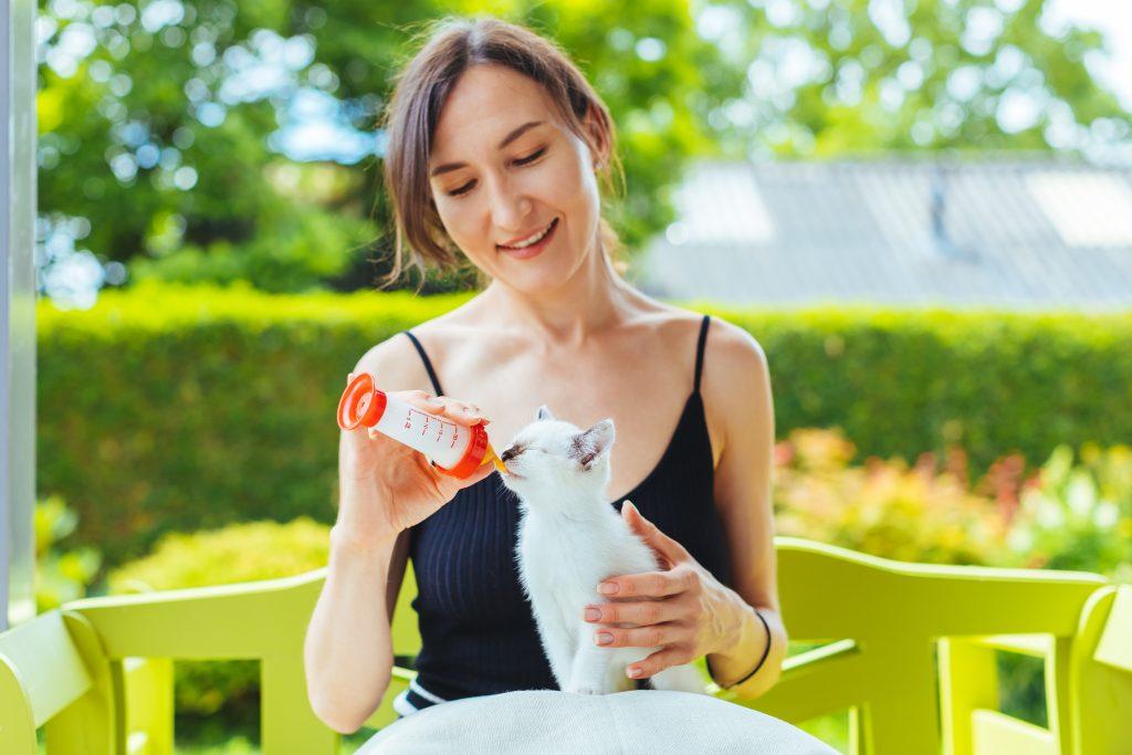Une dame avec un chaton blanc